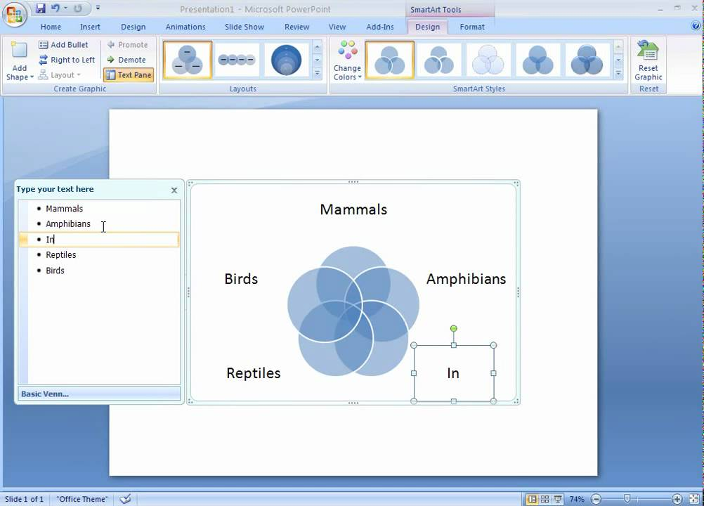 Office 2007 Demo Create A Venn Diagram Youtube