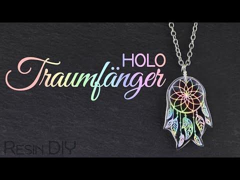 Holo Traumfänger Schmuck | Resin DIY | Gießharz Halskette mit Nagelfolie | Schema Fuchs Anleitung