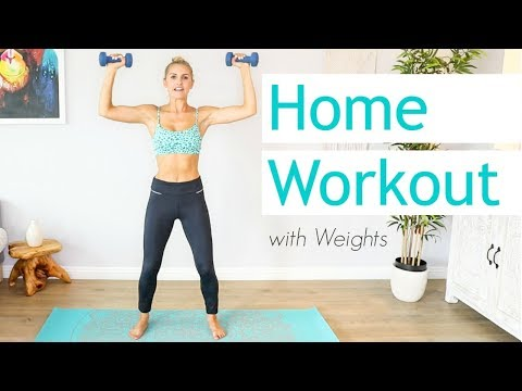 Full Body 15 Minute Workout With Weights   Rebecca Louise
