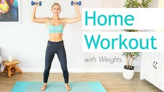 15 Minute Full Body Workout With Weights | Rebecca Louise