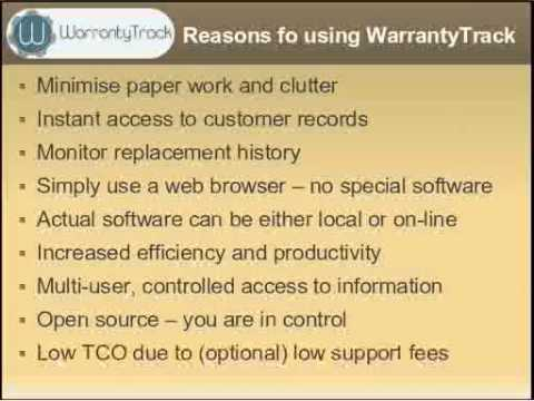 warrantytrack warranty tracking software introduction youtube