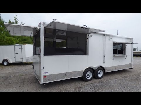 White 8.5 X 24 Concession Trailer - BBQ Smoker Event Catering