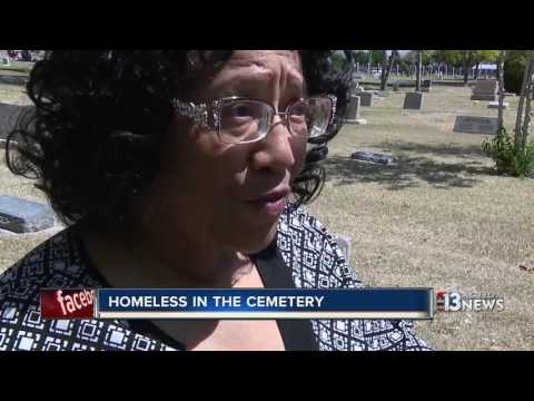 Woman unexpectedly helps homeless sleeping on headstones at Woodlawn Cemetery