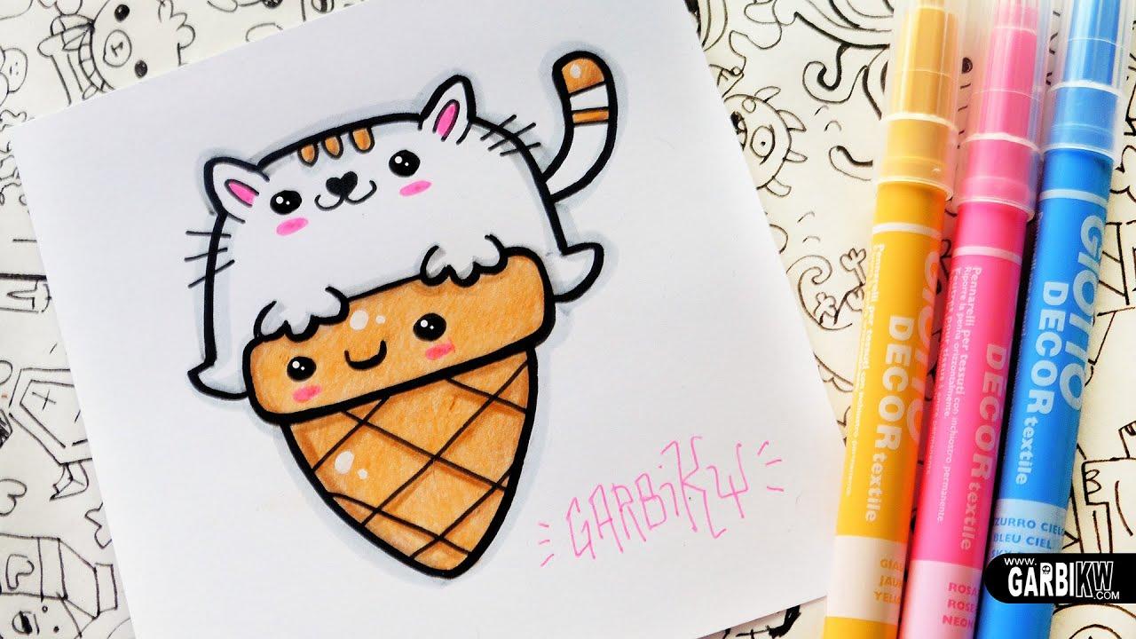 How To Draw Kawaii Cat Ice Cream By Garbi KW
