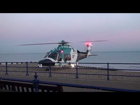 Brand New - G-KSSC / Kent - Surrey - Sussex Air Ambulance  Taking Off From a Beach In Eastbourne