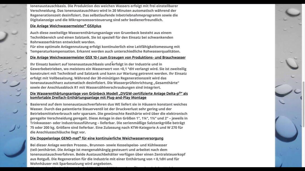 Wasserenthärtungsanlagen Grünbeck - Youtube