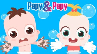 Wash Your Hands Song 20 Seconds with Bubbles Soap | Papy & Pepy Fun and Educational video for Kids