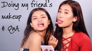 DOING MY CHILDHOOD FRIEND's  MAKEUP & ANSWERING YOUR QUESTIONS
