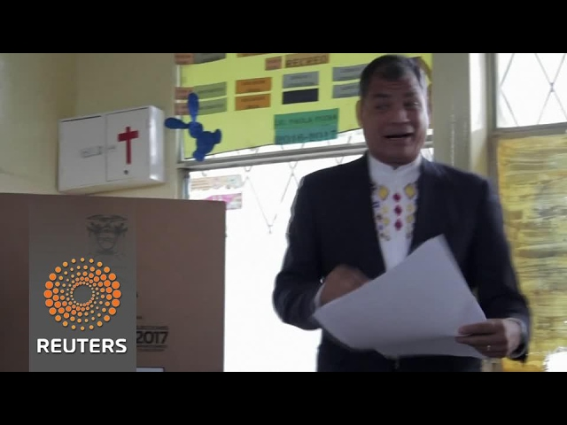 Outgoing President Correa votes in Ecuador's election
