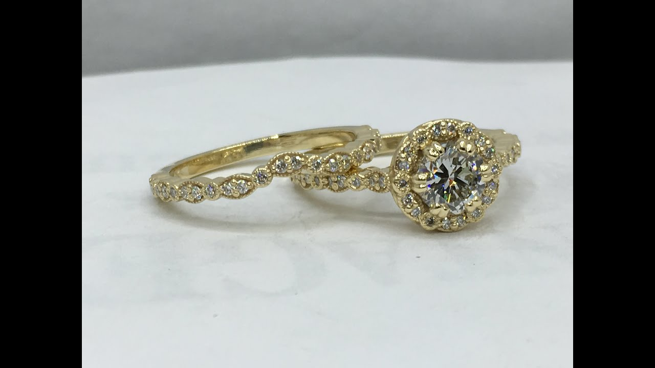 Making a custom designed gold and diamond wedding ring set - YouTube