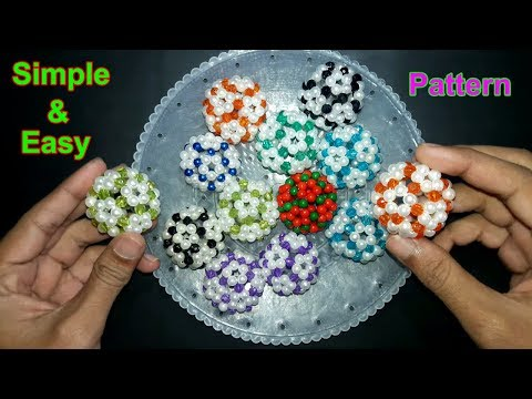 How To Make Beaded Ball   Simple And Easy Pattern   Beads Ball   Soccer Ball   Beads Craft Ideas