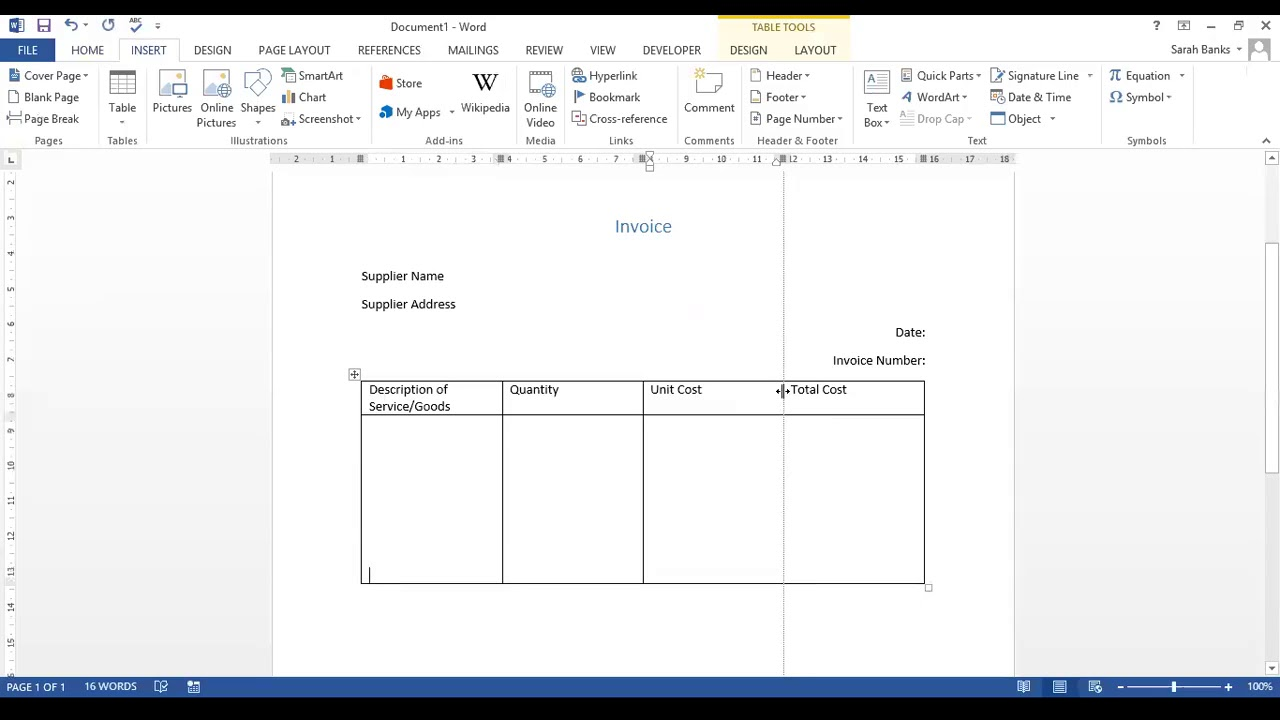 Creating A Basic Invoice Template In Word Youtube