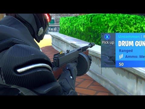 *NEW* DRUM GUN GAMEPLAY IN FORTNITE! (Fortnite: Battle Royale NEW GUN)