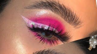 Makeup rosa 💖 delineado con glitter