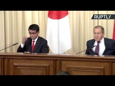 Point-presse du chef de la diplomatie russe Sergueï Lavrov et de son homologue japonais Taro Kono