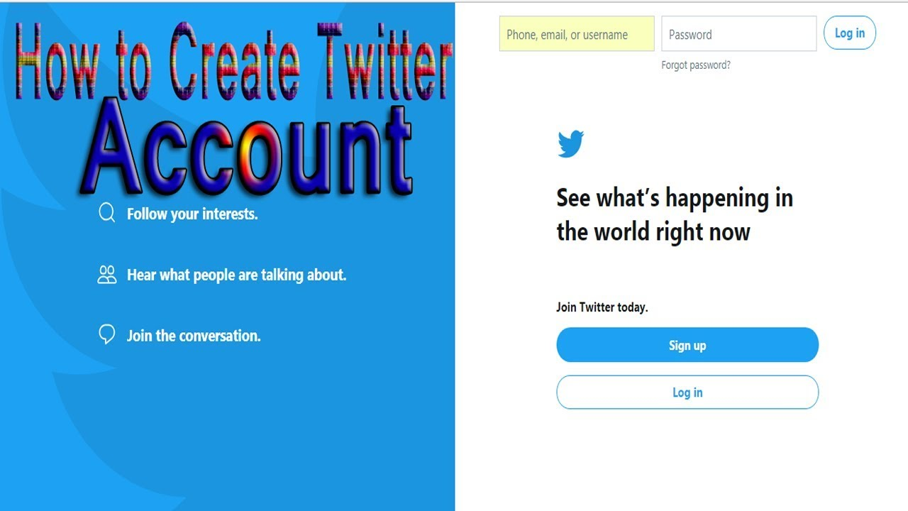 How to create a twitter account youtube