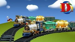 Мой первый поезд. Два паровоза с дымомом. Детский паровозик. Railroad classic train with smoke steam