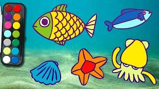 how to draw Underwater | easy drawing | learn Coloring for Kids