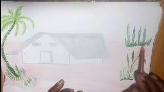 How to Draw Village Scenery for Kids | Drawing for chilldern