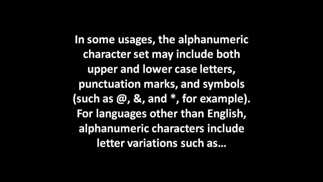 What Is Alphanumeric Youtube
