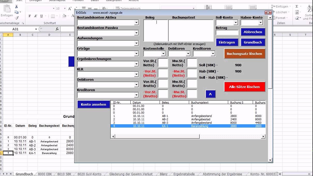 Einfacher Buchungssatz. Buchführung mit Excel - YouTube