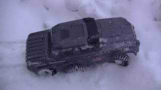 Испытание 6-ти колёсного джипа на снегу.