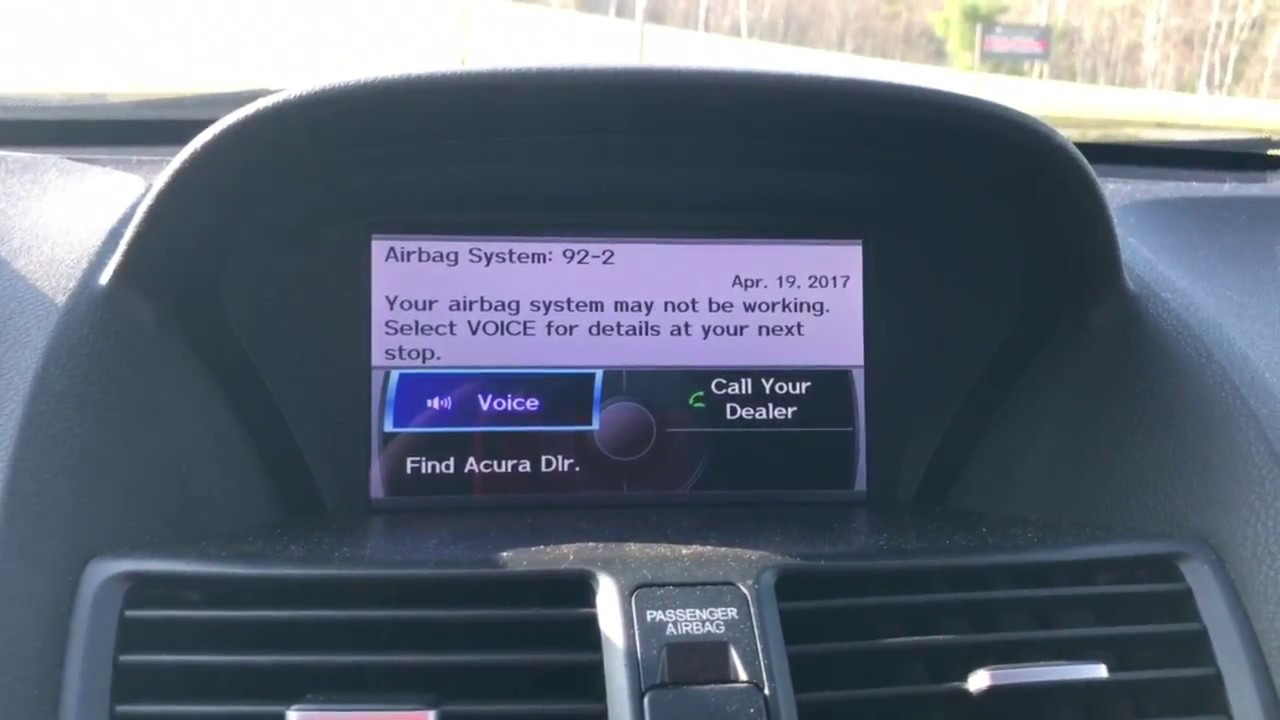 Acura TL Airbag Error YouTube - Acura tsx airbag