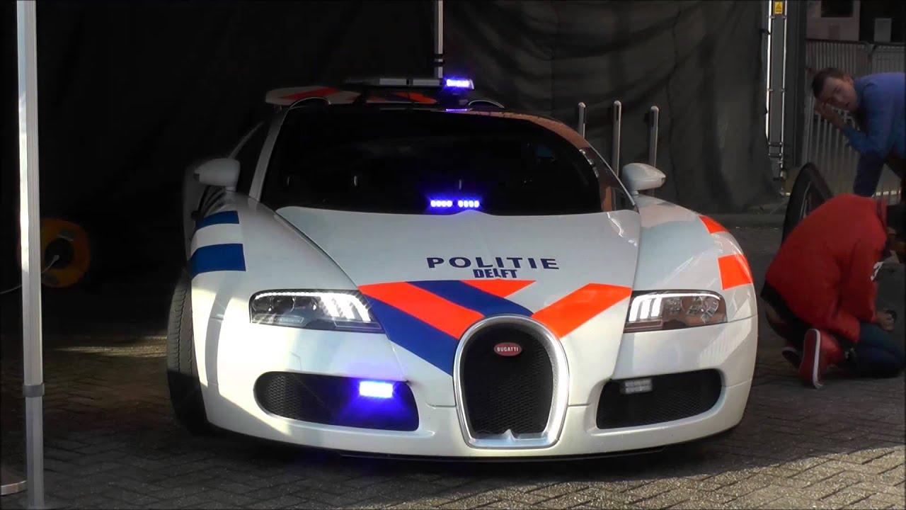 Tijdelijke Politie Bugatti Veyron En Brandweer Ferrari Op Politiedag Delft 2014 Youtube
