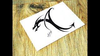 Designing a Tribal Dragon Letter A - Tribal Tattoo Design Style - Art Maker Akshay