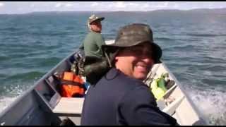 Pescaria sem Peixe no Lago de Serra da Mesa em Goiás Sérgio,  Mauro e Alexandre  2013 06 15