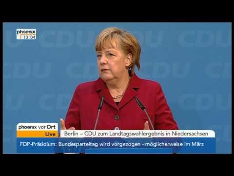 Angela Merkel und David McAllister zum Wahlausgang in Niedersachsen - VOR ORT vom 21.01.2013