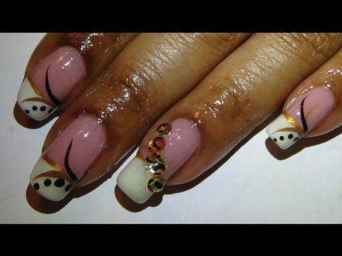 White French With Leopard Rhinestones Nail Design Simple Beginners