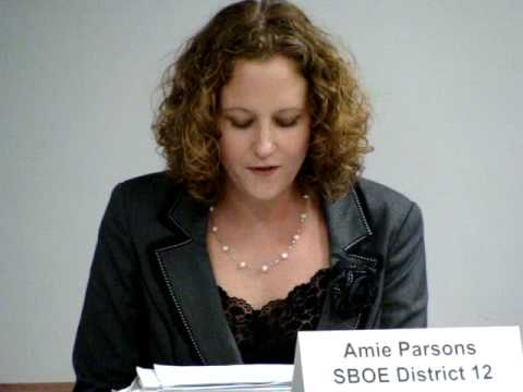 Amie Parsons at SBOE Candidate Forum (Closing)