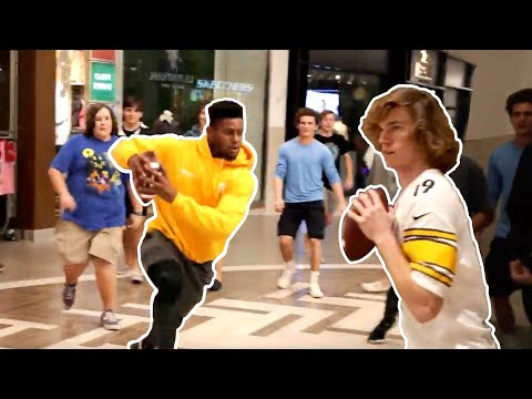 Playing football in mall with Juju Smith-Schuster!