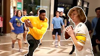 Playing football in mall with Juju Smith-Schuster
