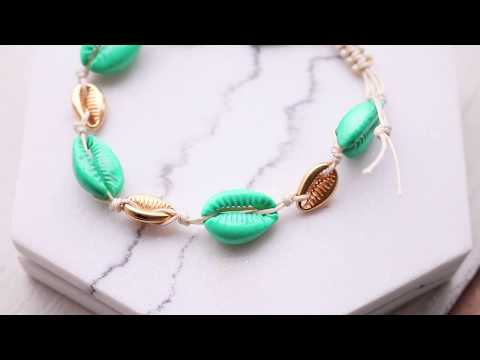 Handmade jewellery: How to make a bracelet with cowrie shells? ♡ DIY