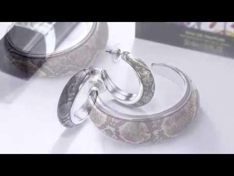 DreamCarnival 1989 Round Hoop Earrings for Women Resin with Snake Animal Skin Pattern