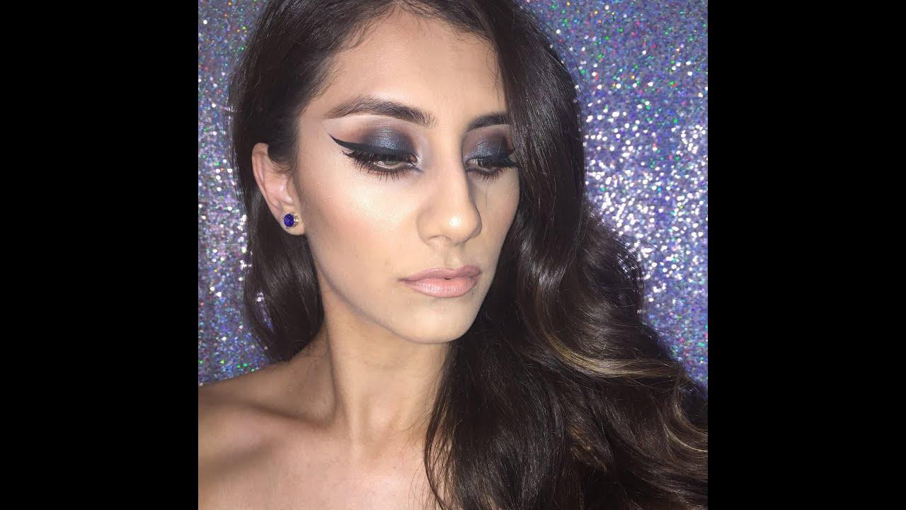 dramatic blue glittery smokey eyes youtube