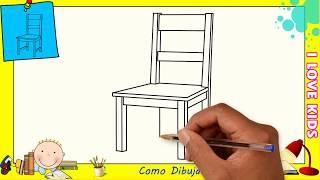 Como dibujar una silla FACIL paso a paso para niños y principiantes 3