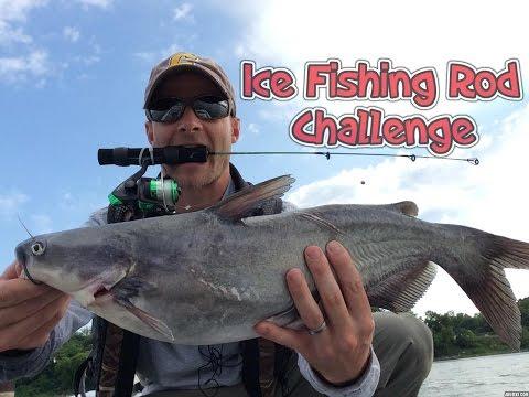 Ice Fishing Rod CHALLENGE: Catching Bass, Catfish, And A Gar
