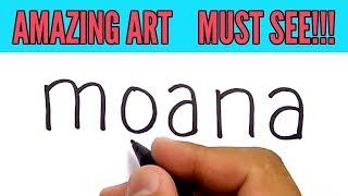 SUPER EASY !, how to turn words MOANA into Cartoon PRINCESS MOANA for Kids thumbnail