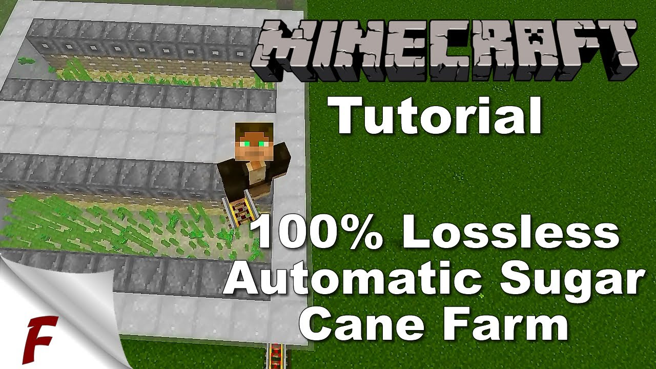 Minecraft Lossless Sugar Cane Farm Tutorial 1 12 And 1 13 Youtube
