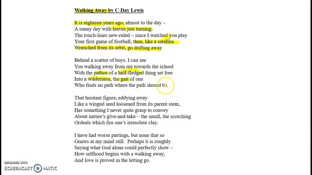 walking away poem