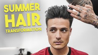 mens summer hairstyle transformation getting a haircut by a master hairdresser