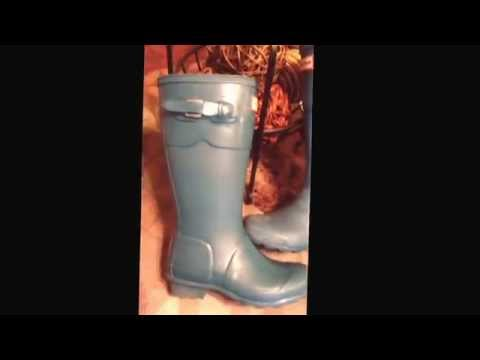 DIY Clean White Cloudy Bloom off Hunter Wellie Boots with Olive Oil spray Trader Joes