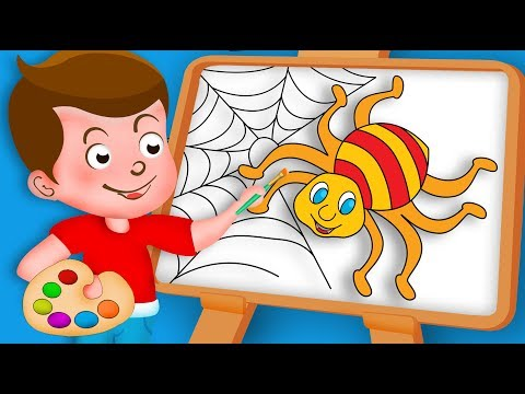 Drawing Spider with Itsy Bitsy Spider Song Paint And Colouring For Kids Kids drawing TV