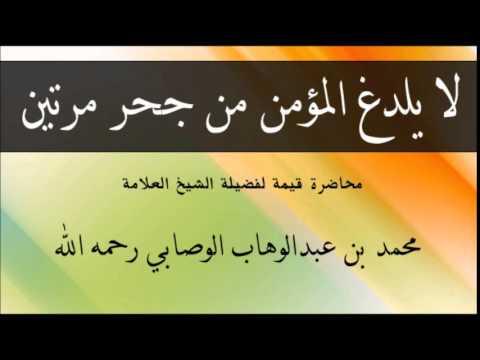 لا يلدغ المؤمن من جحر واحد مرتين لفضيلة الشيخ محمد بن عبدالوهاب الوصابي رحمه الله Youtube