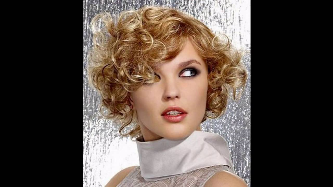 Short hairstyle for curly hair round face - YouTube