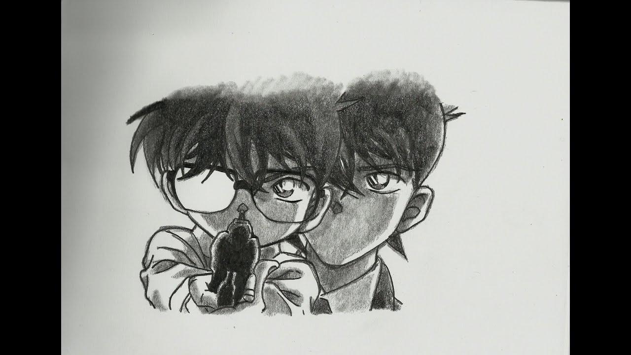 detective conan conan and shinichi movie 2 speed drawing 7 youtube