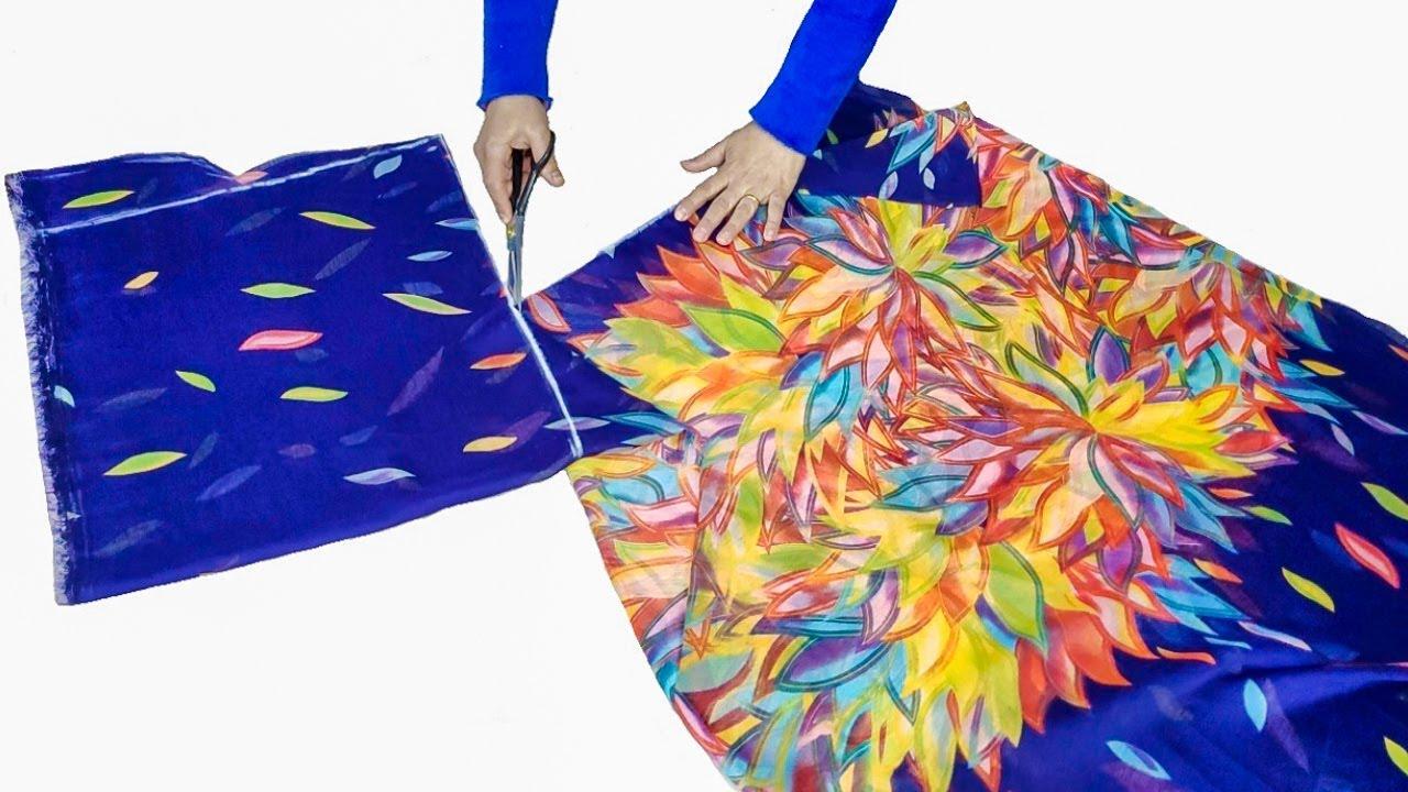 فكرة مدهشة وابداع لخياطة فستان بطريقة بسيطة جدآ / أحدث خياطة فستان و بطريقة قص بسيطة